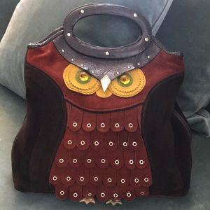 Kate Spade rare Sherwood owl bag handbag suede